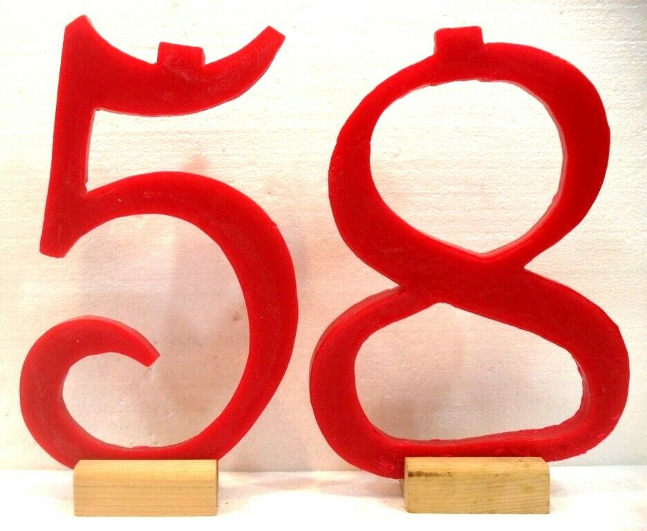 Giant CANDLES exceptional No. 58 CM. 34x20 and 24 Base bois Couleur rouge C PHOTO