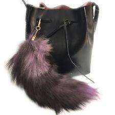 "Purple -16""  40cm Genuine Real Fox Fur Tail Key chain Leather Bag Charm Tassle"