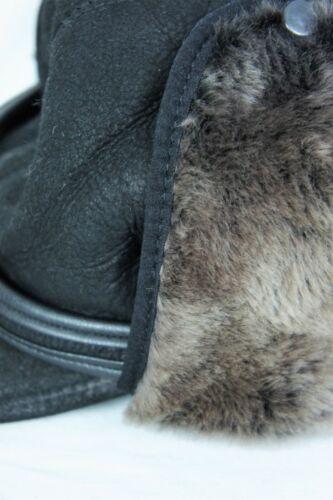 NWT Black 100/% Sheepskin Shearling Leather Hat Elmer Fudd Trapper Hunting M-3XL