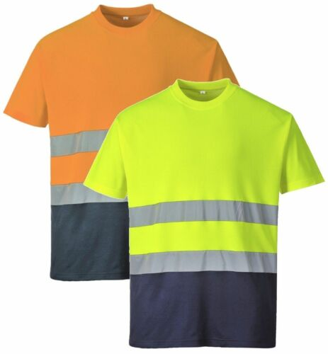 Portwest TShirt Hi Vis Two Tone Cotton Sleeve Comfort Workwear Safety Top S173
