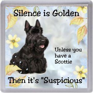 Scottish-Terrier-Scottie-Dog-Coaster-034-Silence-is-Golden-034-by-Starprint