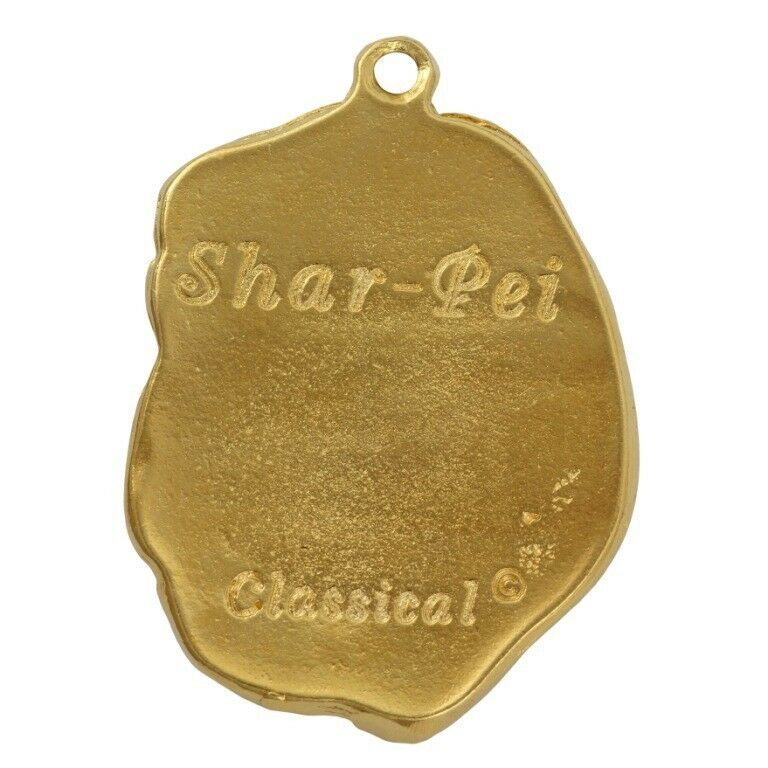 Shar Pei - oro covered necklace with dog in in in box, high quality Art Dog 152828