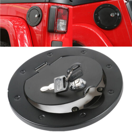 Black Fuel Filler Door Cover Gas Tank Cap Fit  Jeep Wrangler 2007-2017 With Lock