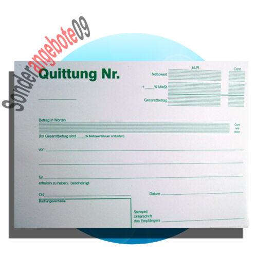 5 x Quittungsblock A6 50 Blatt Quittungen Quittung einfach  blau Quittungsblöcke