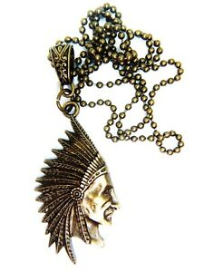 Antique Gold Tone Native American Indian Necklace FREE Gift bag Apache USA Chain
