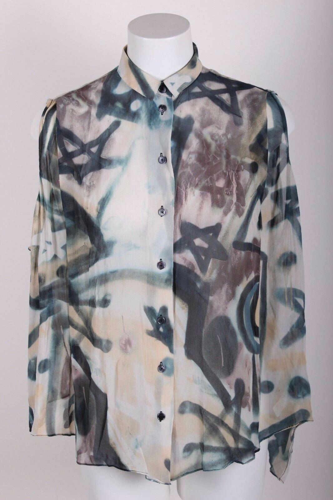 ACNE STUDIOS Shirt SZ 34 XS Silk 'Tauri' Graffiti Print Silk Blouse Top