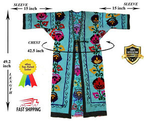 Blue-Vintage-Hand-Embroidery-Uzbek-Suzani-Jacket-Robe-Dress-SALE-WAS-100-00