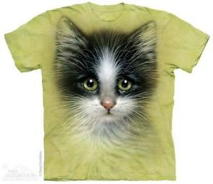 WOMEN-039-S-T-SHIRT-GREEN-EYED-KITTEN-STONEWASHED-MULTICOLORED-SIZE-SMALL