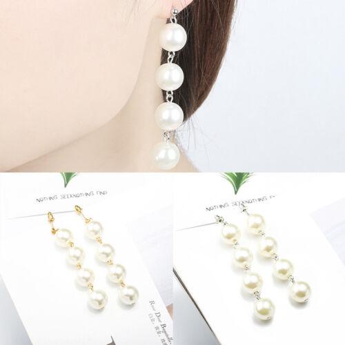 Femme Élégant Fausses Perles Boucles D/'oreilles Corde Pendantif Mariage Cadeau