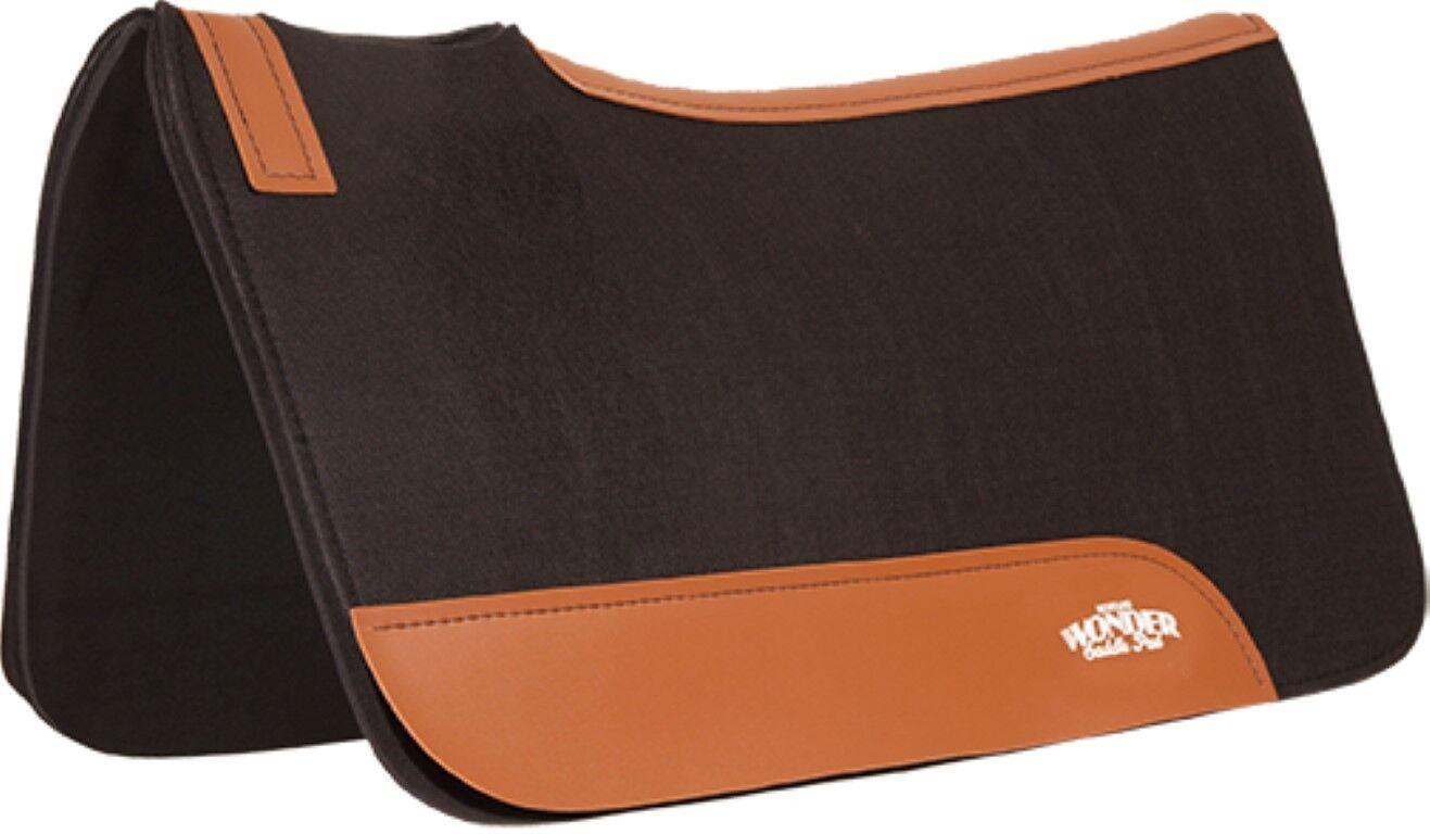 Mustang Wonder Pad Westernpad Filz Neopren ca. 80x80cm black mit Lederbesatz