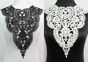 Off-White-Black-Fabric-Venice-Collar-Lace-Polyester-Sewing-Trim-Applique-Craft