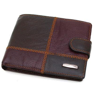 New Brown Men's Leather Clutch Wallet Zipper Pocket Coin Pocket Purse-J362/J262
