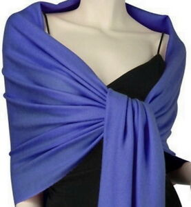 Royal Blue Pashmina Silk Scarf Soft Shawl Wrap Solid Color P#9