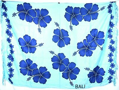 Paréo Plage Femme Serviette de Plage Sarong Drap Pareo fleur bleu noir