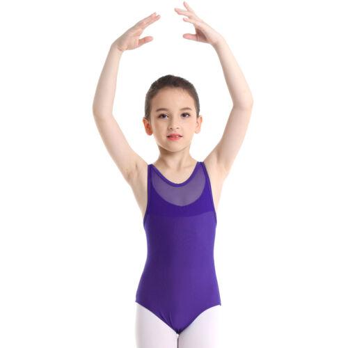 Girls Kids Gymnastics Ballet Dance Leotards Stretch Bodysuit Jumpsuit Dancewear