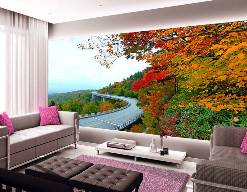3D Highway Mountain Autumn Full Wall Mural Photo Wallpaper Print Paper Home Deco