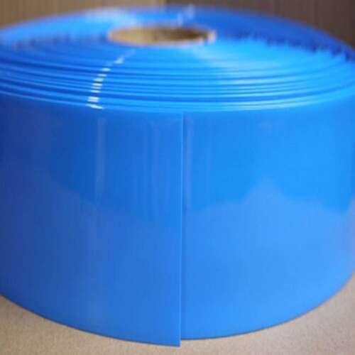 Blue Φ140mm Battery Sleeve Wrap PVC Heat Shrink Tube Thick Flat Width 220mm x 1M
