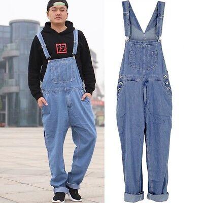 Men/'s Cotton Denim Overalls Jumpsuits Suspender Trousers Jeans Pants Plus size