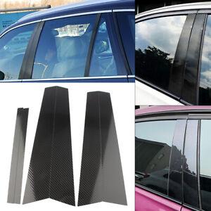 6pcs Carbon Fiber Car Window B Pillar Trim Cover Fits BMW 5 Series F10 2011-2017