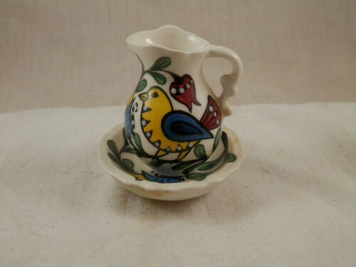 Miniature water pitcher & Basin ceramic Hand Painted Bird signed I Vanna 2""