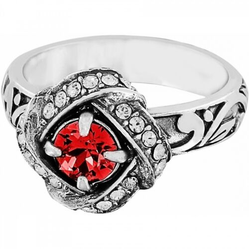 NWT Brighton ETERNITY KNOT Ring Ruby Red Crystals Silver Size 8  MSRP $56