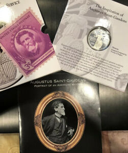 1996S-US-Mint-National-Community-Service-Comm-Proof-Silver-Dollar-Coin-Stamp-Set