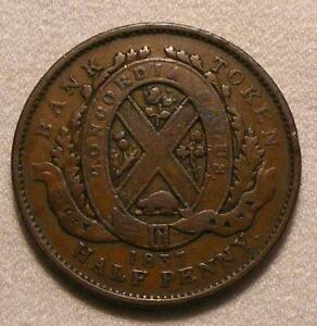 1837 Province Of Lower Canada City Bank 1/2 Penny / 1 Sou Token!!  BR-522!!