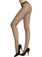 Pantyhose Diamond Net Black Seamless Women's One Size 100-175 Lbs
