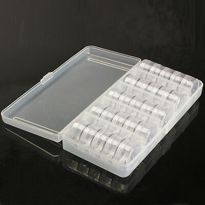 25 Storage Bottles Plastic Empty Box Case Pot For Nail Art Rhinestone Bead Gems