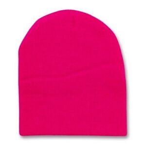 242ebc705ca Hot Pink 8 Inch Short Knit Beanie Winter Ski Cap Caps Hat Hats Toque ...