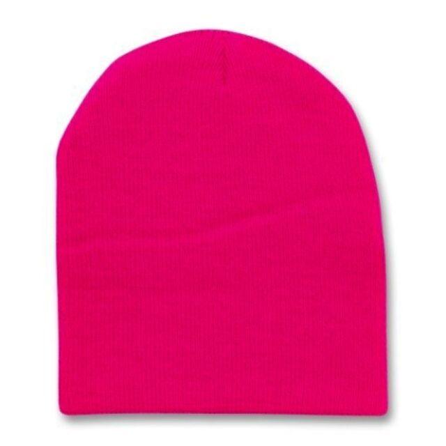 Hot Pink 8 Inch Short Knit Beanie Winter Ski Cap Caps Hat Hats Toque Toques