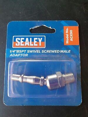 """Sealey Screwed Adaptor Male 1//4/""""BSPT Pack of 5 Air Line Couplings /& Fittings"""