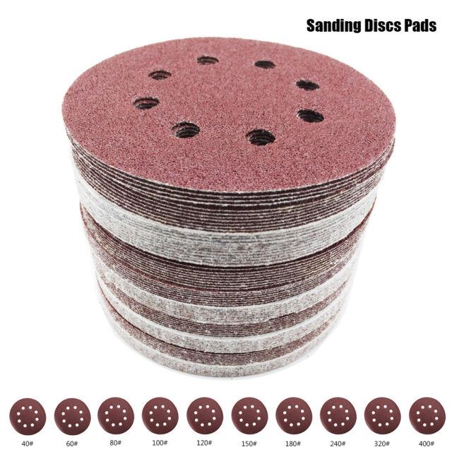 """80Pcs 5/""""125mm 8Hole 40-400 Grit Sanding Discs Paper Orbit Sander Pad Hook Loop"""