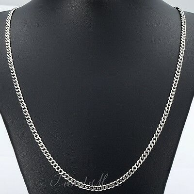 3/5/7/9/11mm MENS Chain Stainless Steel Silver Tone Curb Link Necklace 18-36''