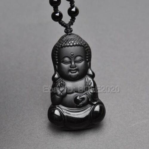 100/% Naturel Noir Obsidian Carved bébé Bouddha chanceux pendentif Perles Collier
