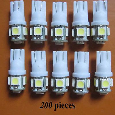 200x T10 5050 SMD Wedge 5 LED Car white Light Bulb 194 168 W5W 12V wholesale