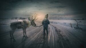 WINTRY-REINDEER-BOY-CANVAS-PICTURE-WALL-ART-20X30-INCHES