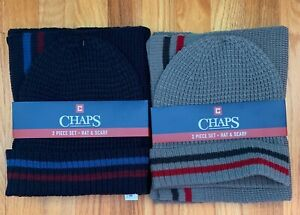 3afac6978 Details about Men's Chaps 2 PC Gift Set Hat Scarf Grey Striped or Navy  Striped NEW NWT Mens