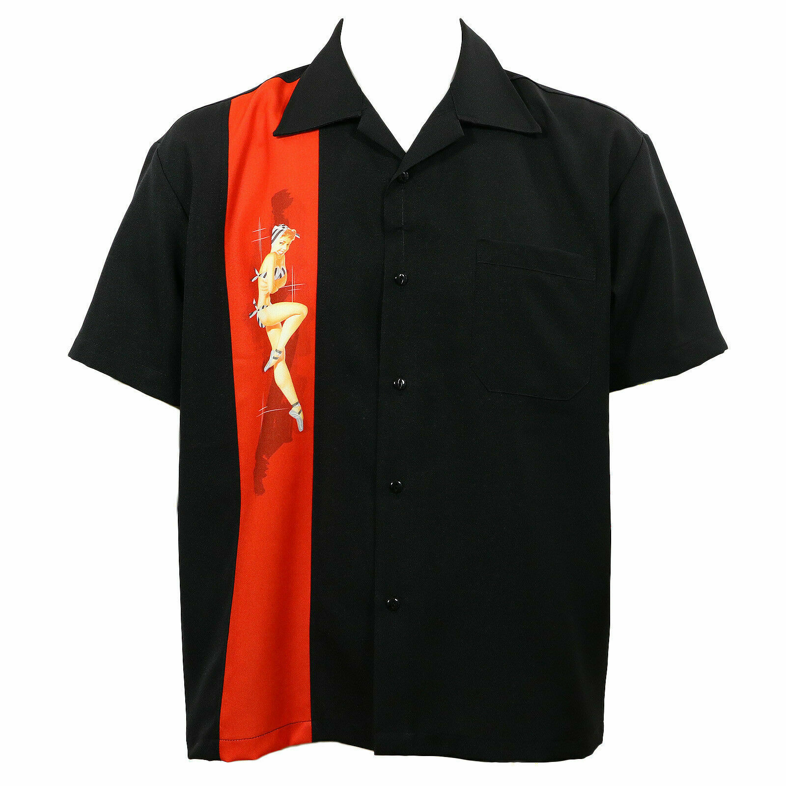 Steady Clothing Singolo Pinup Rockabilly Nero con Bottoni Bowling Camicia