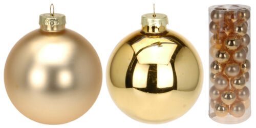 Set of 40 Real Glass Gold Christmas Tree Decorations Glass Christmas Baubles