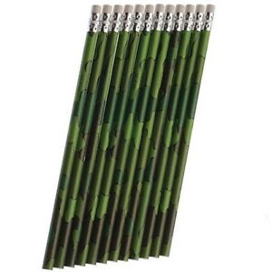 Camouflage-Military-Army-Greens-Party-Supplies-Favours-Pencils-12-pack