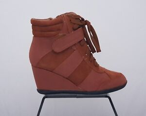 Women's Suede Leather Orange Wedge