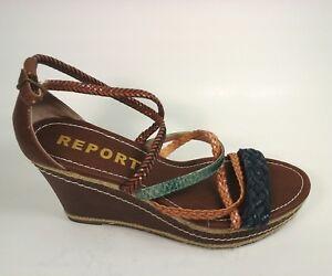 449b5e874c REPORT Women  039 s Multi-Color Strappy Platform Wedges Shoes Size 8.5