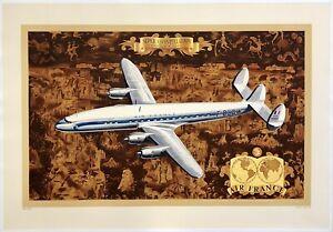 Original Vintage Poster AIR FRANCE SUPER CONSTELLATION Airline Travel Tourism OL