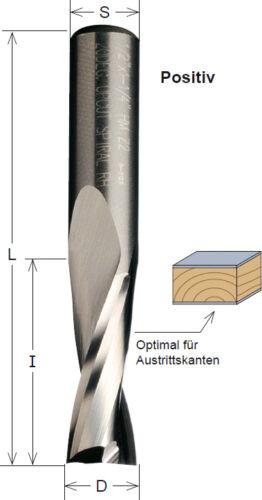 VHM Fräser positiv 6 x 70 x 27  Z 2  für Handoberfräse Schaft 6 mm CMT