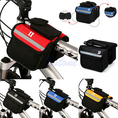 Bicycle Cycling Bike Frame Pannier Saddle Front Tube Bag Both Side Double Pouch