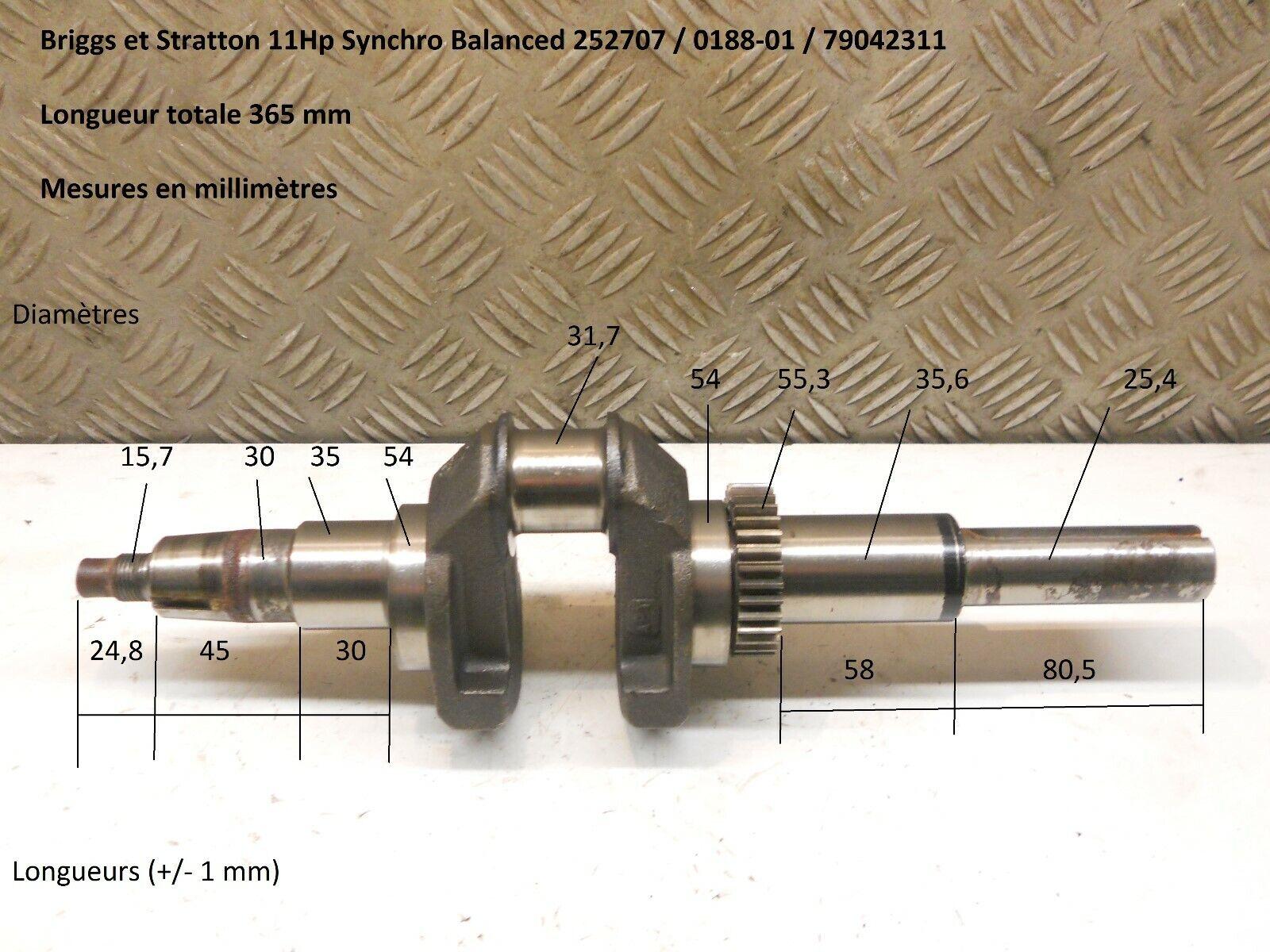 Moteur 11Hp mod. 252707   0188-01 - Vilebrequin ref. 392299