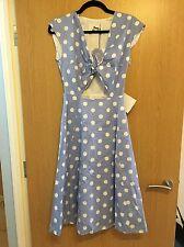 Tara Starlet Women's Peekaboo Dress Blue/White Polka Dot Size 8 Vintage 50s/60s
