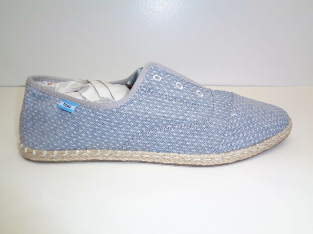 736eee83cff Toms Size 10 M PALMERA Chambray Dot Canvas Slip On Loafers New Womens Shoes