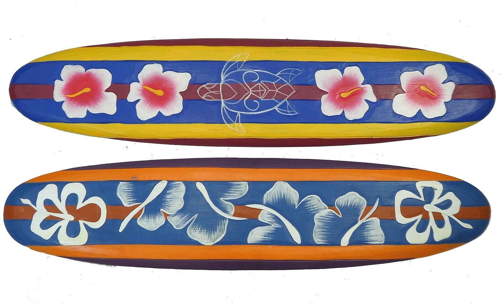 2 Deko Surfboards mit Blaumen und Schildkröte Motiv 100cm Karibik Südsee Look